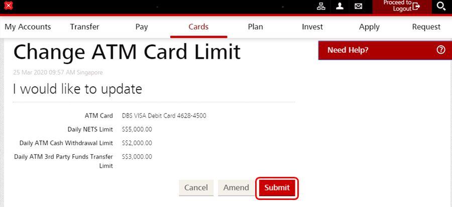 Change DBS POSB ATM Withdrawal Limit