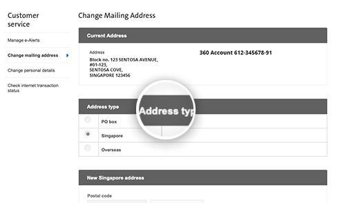Change OCBC Mailing Address via Online