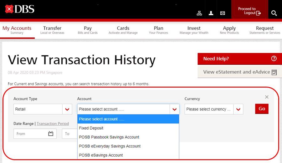 Check DBS POSB Transaction History Online