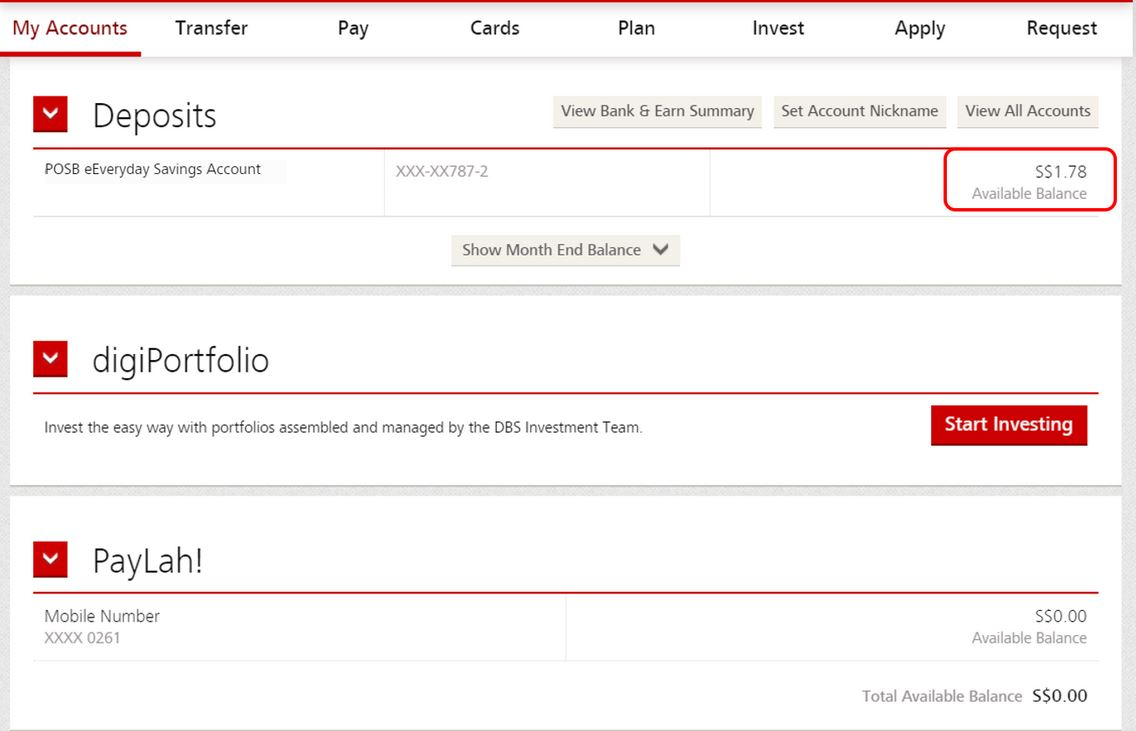 Check POSB DBS Account Balance via Online