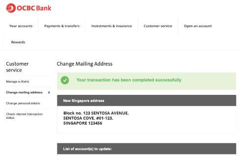 Update OCBC Mailing Address via Online