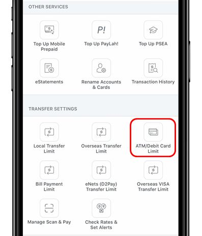 Update POSB Withdrawal Limit Using Mobile Banking