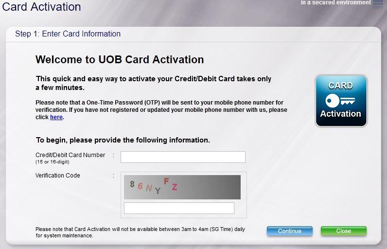 Activate UOB Credit Card Online