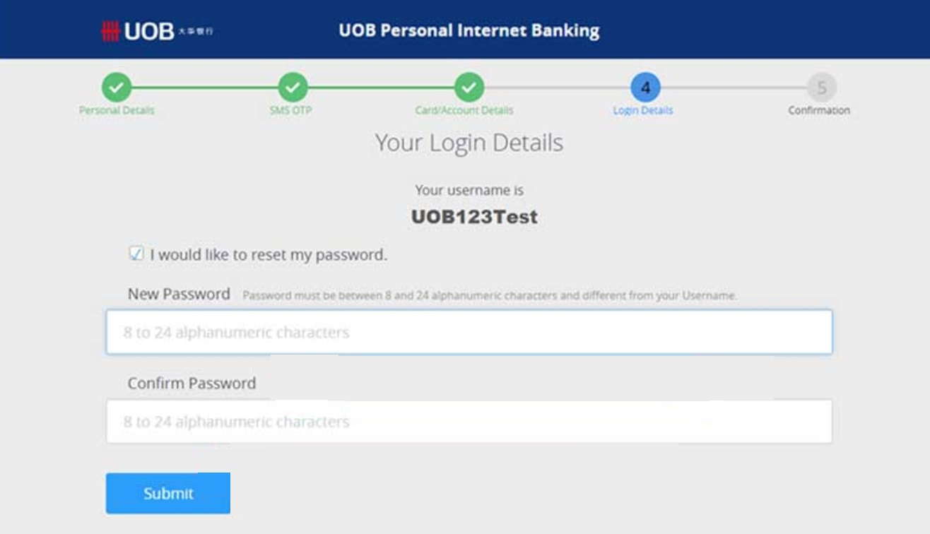 Forgot Username and Password UOB Internet Banking Payee Online