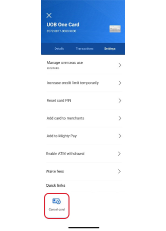 How to Cancel UOB Credit Card Online Banking
