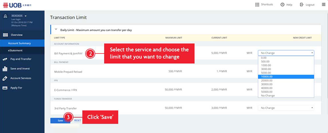 How to Change UOB Credit Card Limit Online