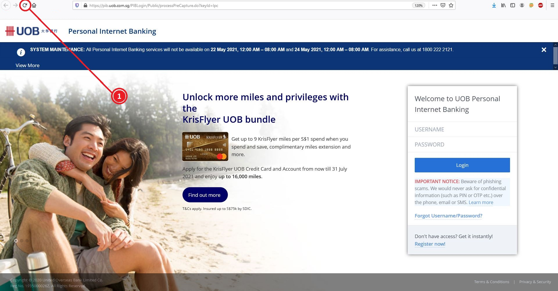 How to Login UOB Internet Banking on PC