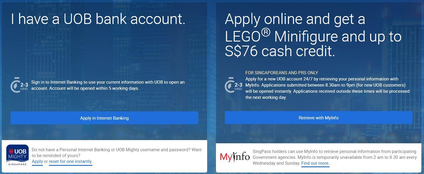Open UOB Bank Account via Online
